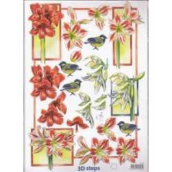 Papier à découper oiseaux et fleurs