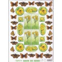 Papier à découper papillons et fleurs