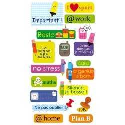 Stickers à relief textes école ARTEMIO