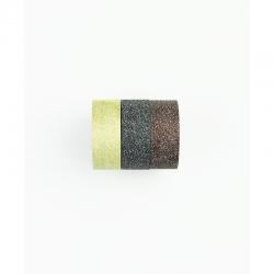 Lot de 3 rouleaux de washi tape or clair pailleté KESI'ART