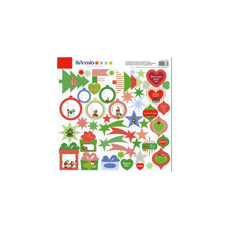 Feuille de stickers Noël lutins ARTEMIO