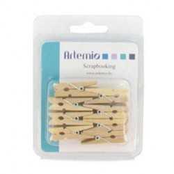 16 minis pince à linge en bois