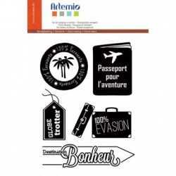Tampons transparents voyage passeport ARTEMIO