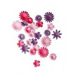 36 fleurs en papier ton rose
