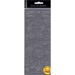 Planche de stickers peel off argent cérémonie