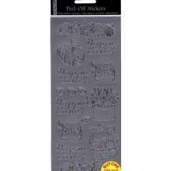 Planche de stickers peel off argent Pâques
