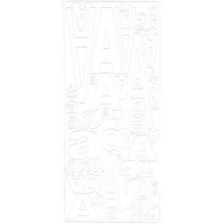Planche de stickers peel off alphabet blanc de A à Z