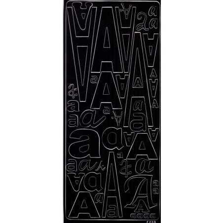 Planche de stickers peel off alphabet noire de A à Z