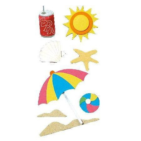 8 stickers 3D plage RAYHER