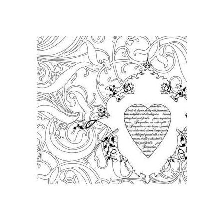 Feuille white paintables coeur PRIMA