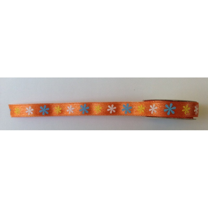 Ruban à fleurs sur fond orange