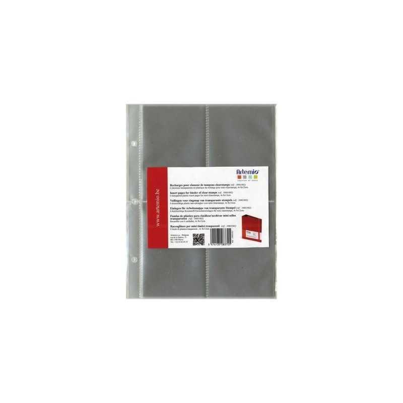 6 pochettes en plastique pour classeur ARTEMIO tampons transparents