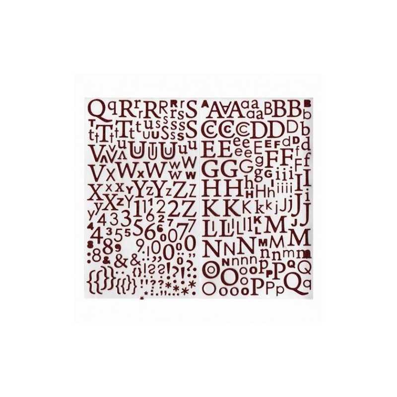 300 alphabets autocollants pailletés rouge