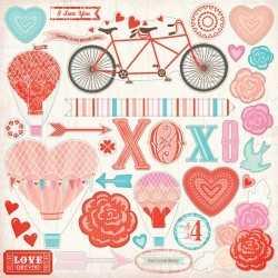 Feuille 30,5cm x 30,5cm de stickers lucky in love MME