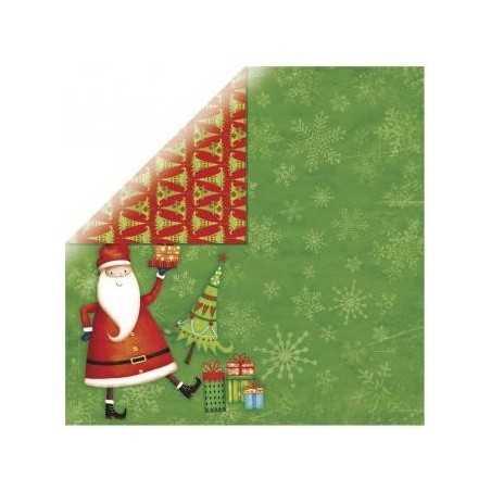 Papier recto verso 30,5cm x 30,5cm Père Noel