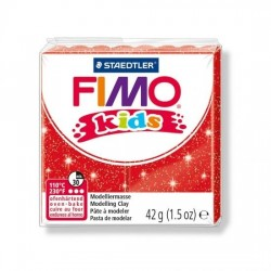Fimo kids rouge pailleté n°212