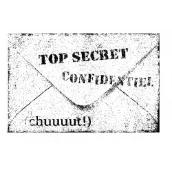 Tampon bois étiquette top secret ARTEMIO