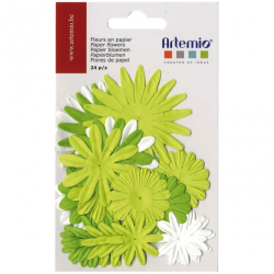 24 fleurs en papier vertes ARTEMIO