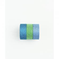 Lot de 3 rouleaux de washi tape bleu pailleté KESI'ART