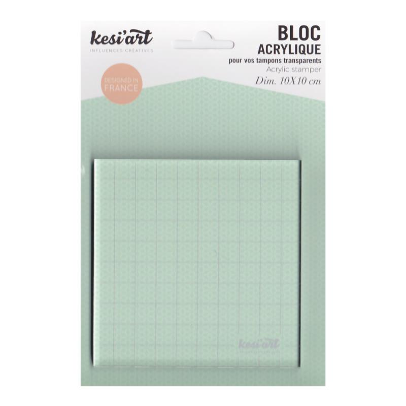 Bloc acrylique pour tampons clear et non montés Kesi'art 10cm x 10cm