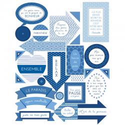 2 planches de stickers textes blue ethnic ARTEMIO