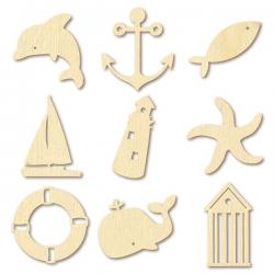 27 mini silhouettes en bois - MER - ARTEMIO