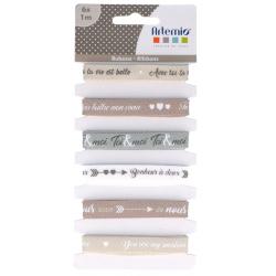 6 rubans imprimés textes AMOUR ARTEMIO 6x1M