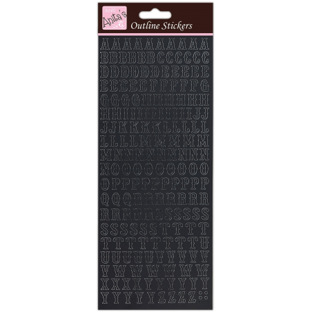Planche de stickers peel off noir alphabet tradiotionnel