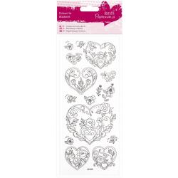 Planche de stickers pailletés à colorier coeurs et roses DOCRAFT