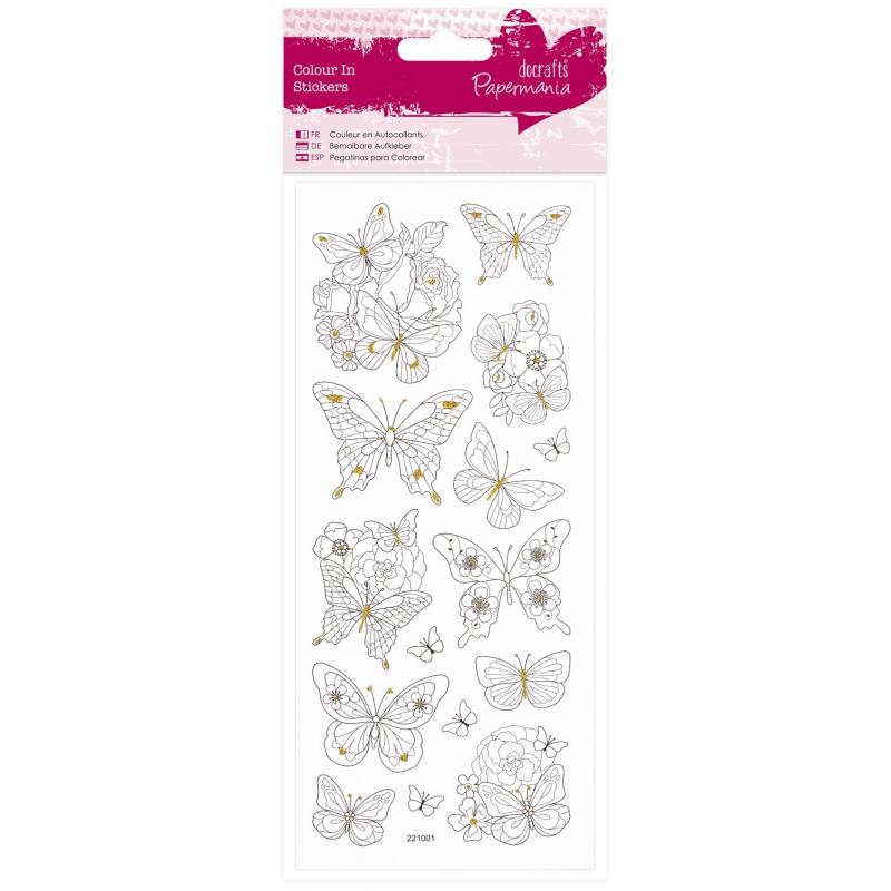 Planche de stickers pailletés à colorier papillons DOCRAFT