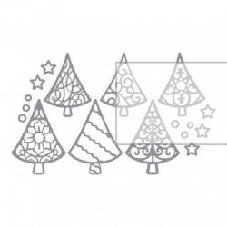 Planche de stickers peel off argent sapins de Noël Rayher