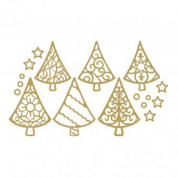 Planche de stickers peel off doré sapins de Noël Rayher