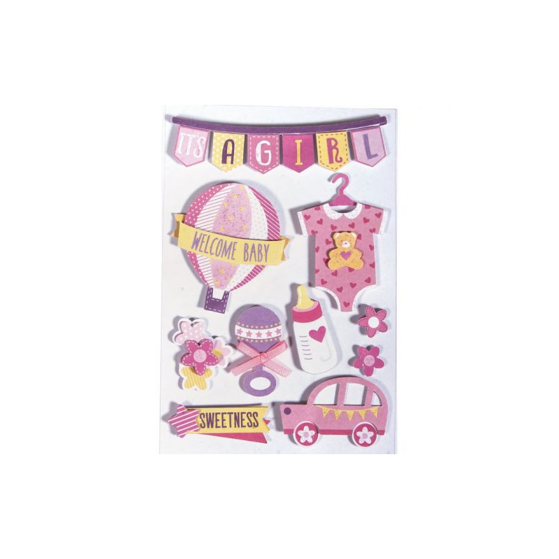 10 Stickers 3D naissance fille - RAYHER