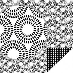 Papier recto verso 30,5cm x 30,5cm Black & white ronds ARTEMIO