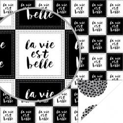 Papier recto verso 30,5cm x 30,5cm Black & white la vie est belle ARTEMIO