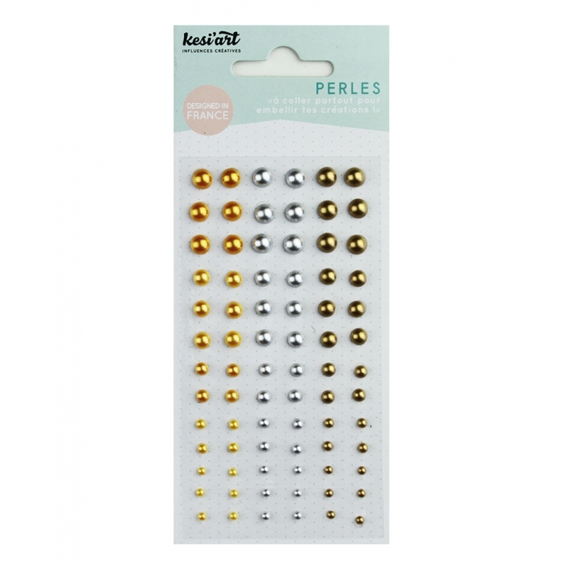 Perles nacrées jaunes autocollantes - KESI'ART