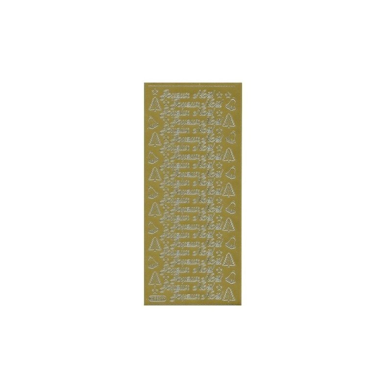 """Planche de stickers peel off doré """"Joyeux Noël"""""""