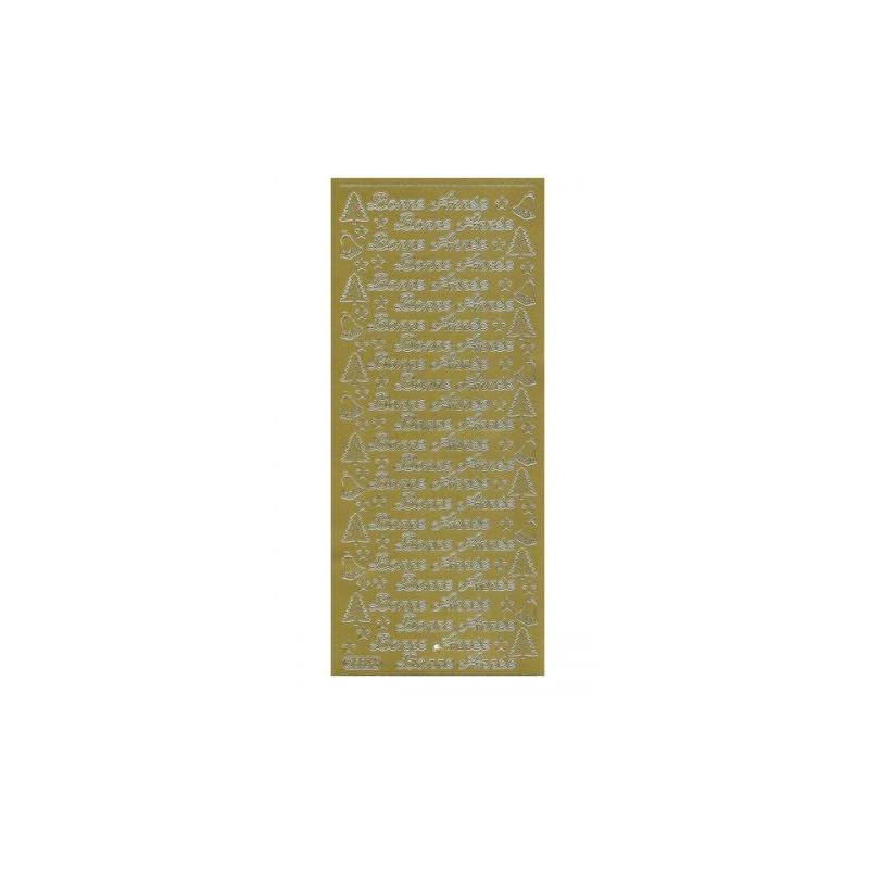 """Planche de stickers peel off doré """"Bonne année"""""""