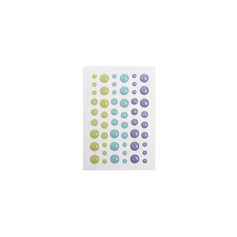 Dots pastel jaune, vert et violet effet pailleté