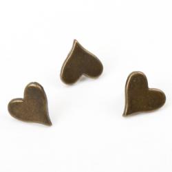 10 Attaches parisiennes coeurs bronze