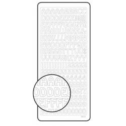 Stickers peel of argenté alphabet majuscule et chiffres