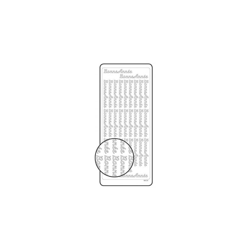 """Planche de stickers peel off argenté """"Bonne année"""""""