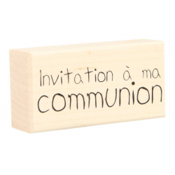 "Tampon bois ARTEMIO ""Invitation à ma communion"