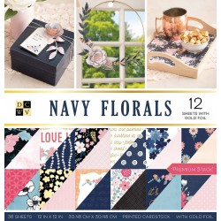 Bloc de 36 feuilles 30,5cm x 30,5cm recto verso Navy floral American crafts