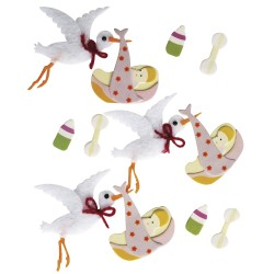 12 Stickers 3D bébé cigogne - RAYHER