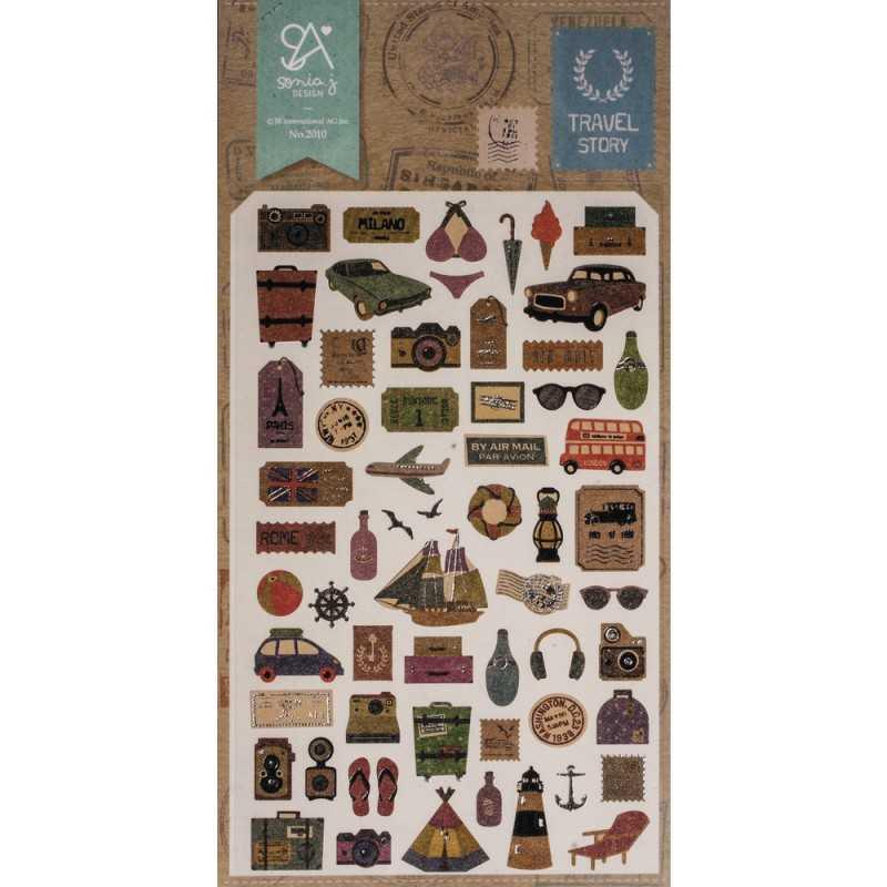 60 Stickers chrystal Travel story