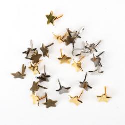 10 Attaches parisiennes étoiles métalliques
