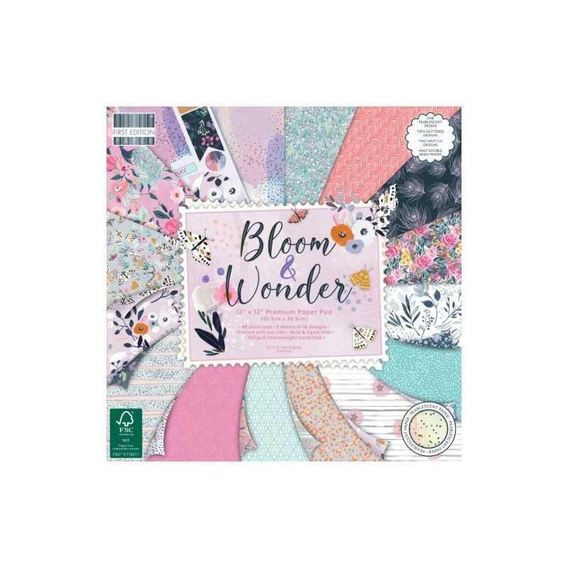 Bloc de 48 feuilles 30,5cm x 30,5cm recto verso, texturés Bloom and Wonder