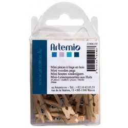 45 Mini pinces à linge en bois