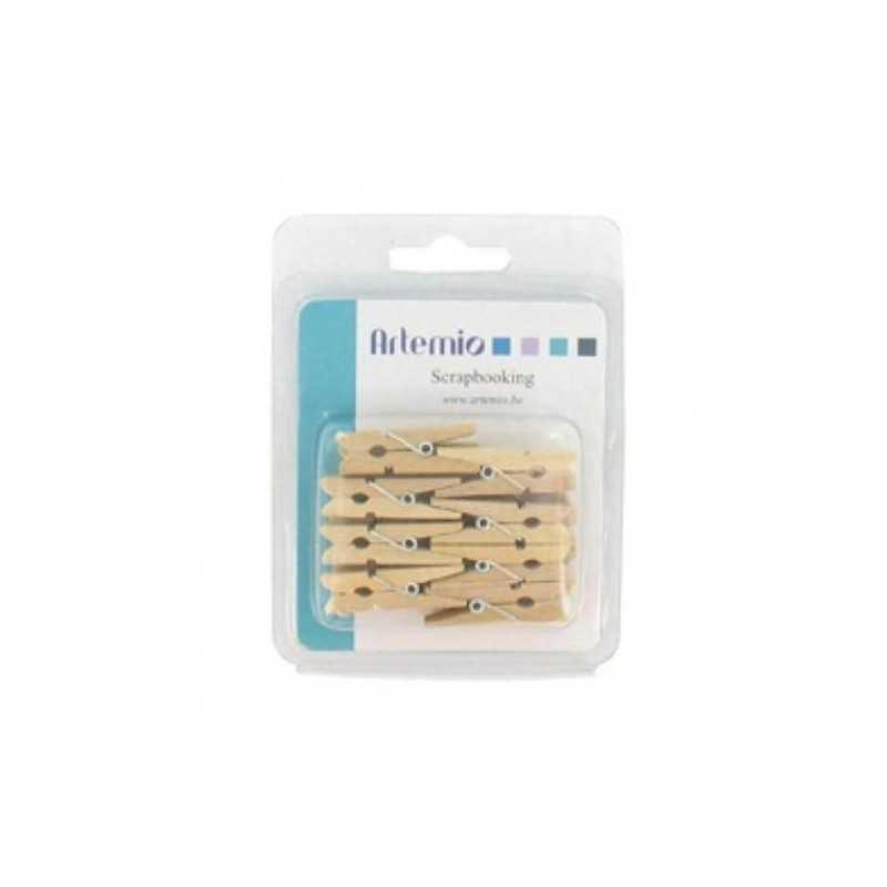 16 pinces à linge en bois ARTEMIO